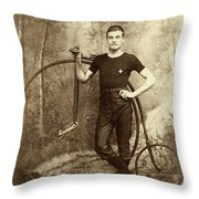 Penny Farthing - High Wheel - Ordinary   Throw Pillow