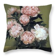 Peonies Front And Center Throw Pillow