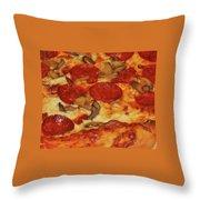 Pepperoni Pizza Mushrooms Throw Pillow