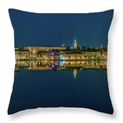 Perfect Stockholm And Gamla Stan Reflection From A Distant Bridge Throw Pillow