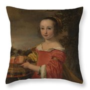 Petronella Elias       With A Basket Of Fruit  Throw Pillow