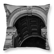 Philadelphia City Hall Fresco In Black And White Throw Pillow