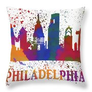 Philly Color Splash Throw Pillow