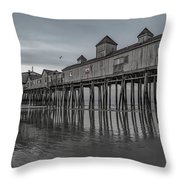 Pier At Dawn In Maine Throw Pillow