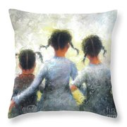 Pigtails Three Sisters Throw Pillow
