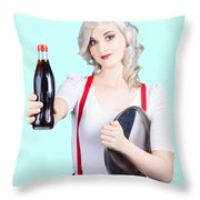 Pin-up Girl Holding Soft Drink Bottle Throw Pillow