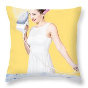 Pin Up Woman Providing Steam Clean Ironing Service Throw Pillow