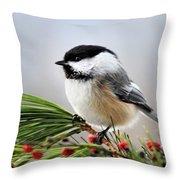 Pine Chickadee Throw Pillow