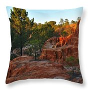 Pine Trees On Red Cliffs Throw Pillow