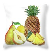 Pineapple Pear Watercolor Food Illustration  Throw Pillow