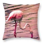 Pink Flamingo Two Throw Pillow