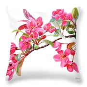 Pink Flowering Tree Blossoms Throw Pillow