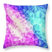 Pink Ice Blue  Abstract Polygon Crystal Cubism Low Poly Triangle Design Throw Pillow