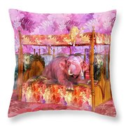 Pink Laughing Elephant Throw Pillow
