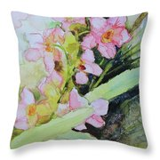 Pink Moth Orchids II Throw Pillow