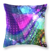 Pink Triangle Fractal Throw Pillow