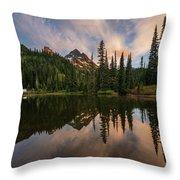 Pinnacle Peak Sunset Reflection Angles Throw Pillow