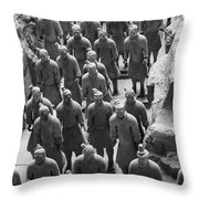 Pit 1 Of Terra Cotta Warriors In Black And White Throw Pillow