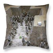 Pit 2 Of Terra Cotta Warriors, Xian, China Throw Pillow