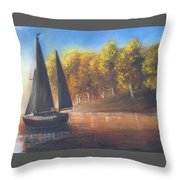 Plain Sailing, Boat Painting Throw Pillow