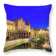Plaza De Espana At Night Seville Andalusia Spain Throw Pillow