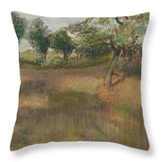 Ploughed Field Bordered By Trees Throw Pillow