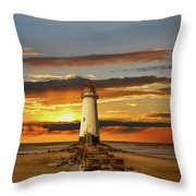Point Of Ayr Lighthouse Sunset Throw Pillow by Adrian Evans
