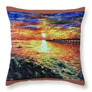 Pondicherry Beach Sunrise Throw Pillow