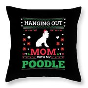 Poodle Ugly Christmas Sweater Xmas Gift Throw Pillow