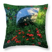 Poppies And Rocks Throw Pillow