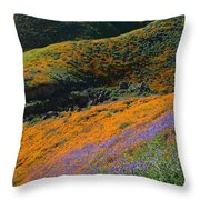 Poppies Bluebells And Rolling Hills Throw Pillow