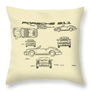 Porsche 911 Patent Drawing Vintage Art Print Throw Pillow by David Millenheft