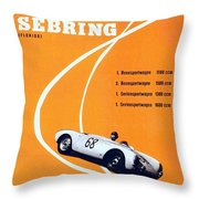 Porsche Sebring Vintage Racing Poster Throw Pillow