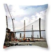 Port Of Savannah Crane Construction Throw Pillow