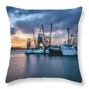 Port Orange Fishing Boats Throw Pillow by Tom Singleton