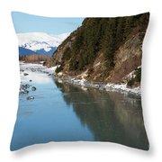 Portage Creek Portage Glacier Highway Alaska Throw Pillow