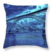 Porto 44 Blue Bridge Throw Pillow by Leigh Kemp