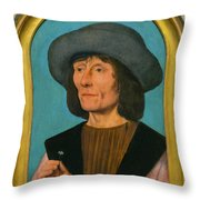 Portrait Of A Man With A Pink Throw Pillow