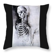 Portrait Of A Skeleton Throw Pillow