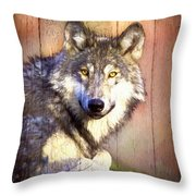 Portrait Of A Wolf Painting Throw Pillow by Debra and Dave Vanderlaan