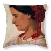 Portrait Of Angela B Cklin In Red Fishnet Throw Pillow