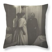 Portrait Of Henry Lerolle With Two Of His Daughters  Throw Pillow