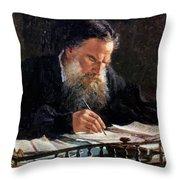 Portrait Of Leo Tolstoy Throw Pillow