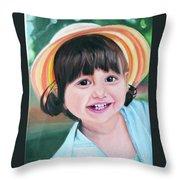 Portrait Of Little Girl. Throw Pillow