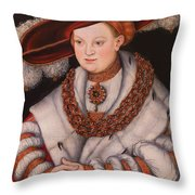 Portrait Of Magdalena Of Saxony, Wife Of Elector Koachim II Throw Pillow