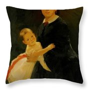 Portrait Of Shestova With Daughter Throw Pillow