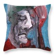 Portrait On Blue Throw Pillow