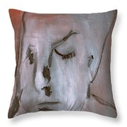 Portrait On Red Throw Pillow