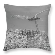 Portrait View Of Downtown San Francisco From Commertial Airplane Throw Pillow