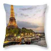 Portrait View Of The Eiffel Tower At Night With Wine Glass In The Foreground Throw Pillow